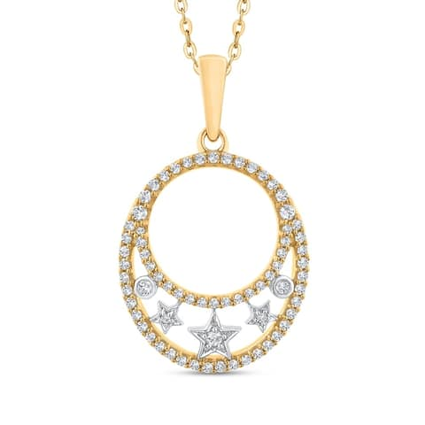 10K Two-Tone Gold 1/3ct TDW Diamond Oval Fashion Pendant (G-H, I2)