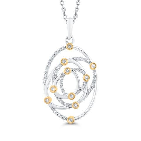 10K Two-Tone Gold 1/3ct TDW Diamond Interlocking Oval Pendant (I-J, I1)