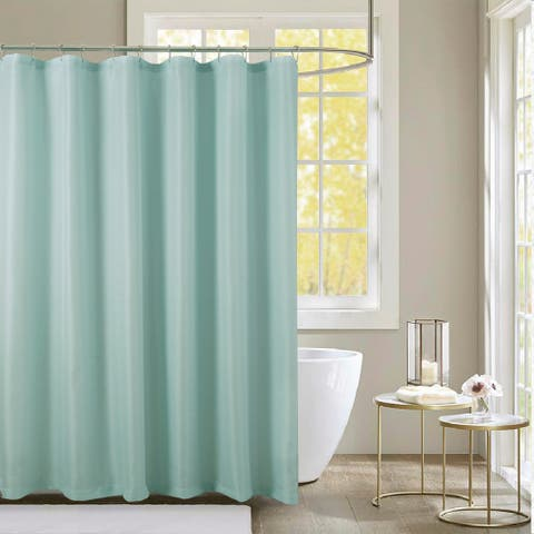Lindale Textured Jacquard Shower Curtain w/ Roller Hooks