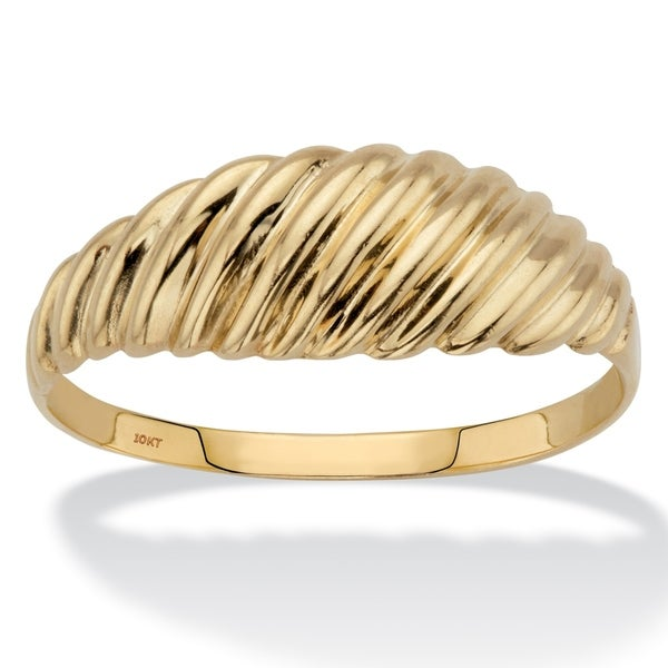 10K Yellow Gold Shrimp-Style Ring. Opens flyout.