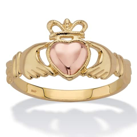 10K Gold Two-Tone Claddagh Ring