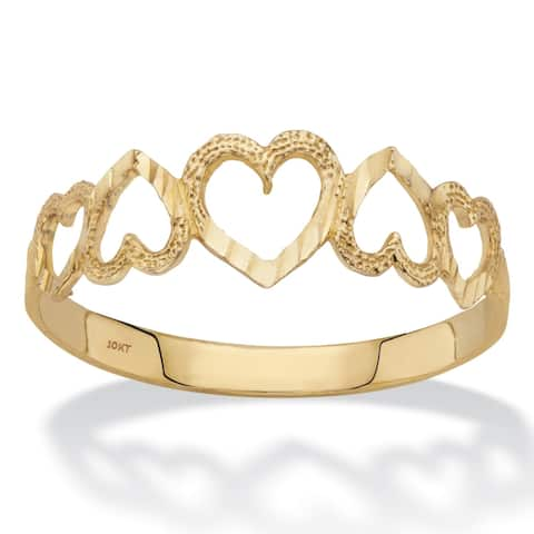 10K Yellow Gold Cutout Heart Ring