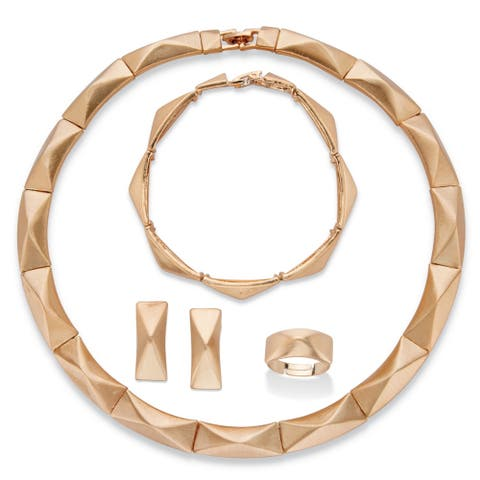 Goldtone Bar Link Pyramid Necklace, Earring Bracelet and Ring Set