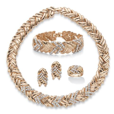 Goldtone Braided Necklace, Earring, Bracelet and Ring Set, Crystal