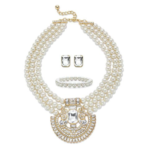 Gold Tone Simulated Pearl Bib Necklace Set, Emerald Cut Crystals, 17""