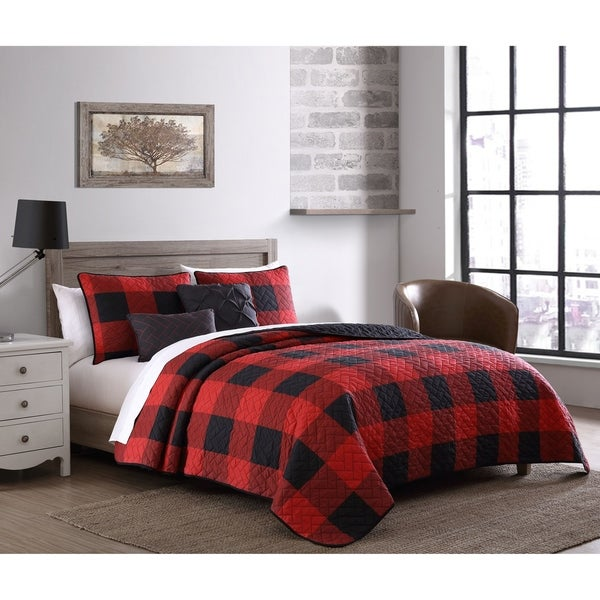 The Gray Barn Wood Side Buffalo Plaid Reversible Quilt Set. Opens flyout.