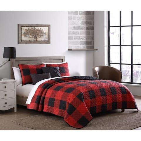 The Gray Barn Wood Side Buffalo Plaid Reversible Quilt Set