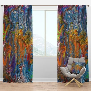 Designart 'Fractal Flowing Colors' Contemporary Curtain Panels