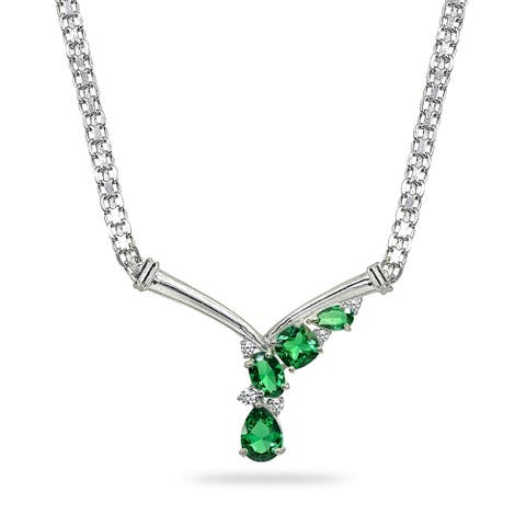 Simulated Emerald & White Topaz Mesh Chain 925 Silver Cocktail V Drop Necklace by Enduring Jewels