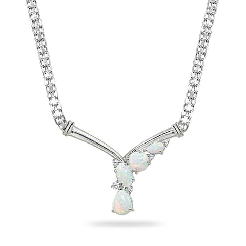 Simulated White Opal & Topaz Mesh Chain 925 Silver Statement V Drop Necklace by Enduring Jewels