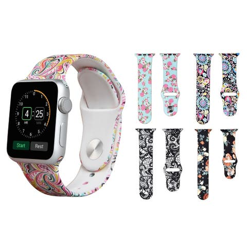 Printed Silicone Replacement Band for Apple Watch Series 1, 2, 3, 4, & 5