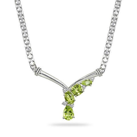 Peridot & White Topaz Mesh Chain 925 Silver Statement Cocktail V Drop Necklace by Enduring Jewels