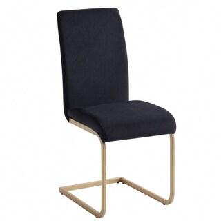 Contemporary Velvet/Gold metal Side Chair, Set of 2