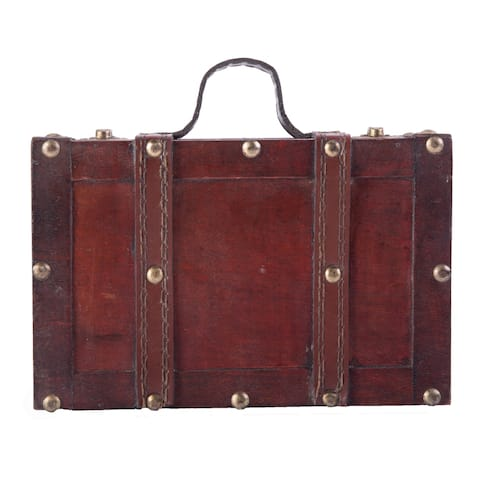 Antique Style Small Wooden Suitcase With Leather Straps and Handle