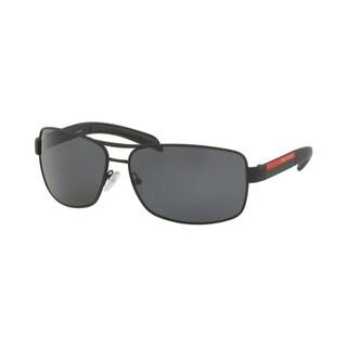 Prada Linea Rossa PS 54IS DG05Z1 65 Black Rubber Man Rectangle Sunglasses