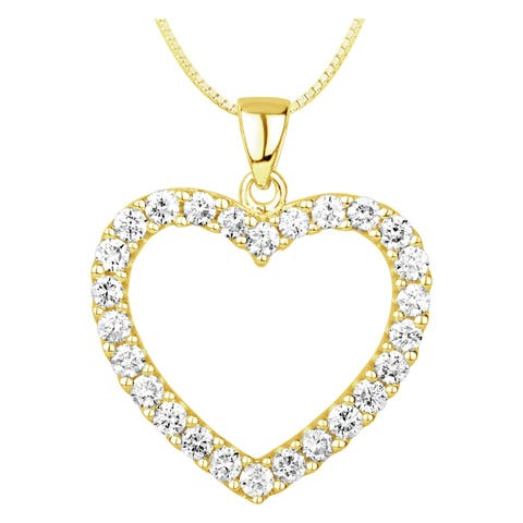 1CT Diamond Heart Pendant in 14K Yellow Gold