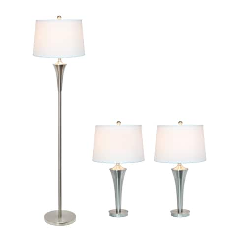 Elegant Designs Tapered 3 Pack Lamp Set (2 Table Lamps, 1 Floor Lamp) with White Shades, Brushed Nickel