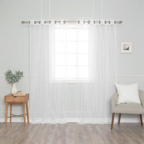 Aurora Home Sheer Pretty Dot Curtains Panel Pair