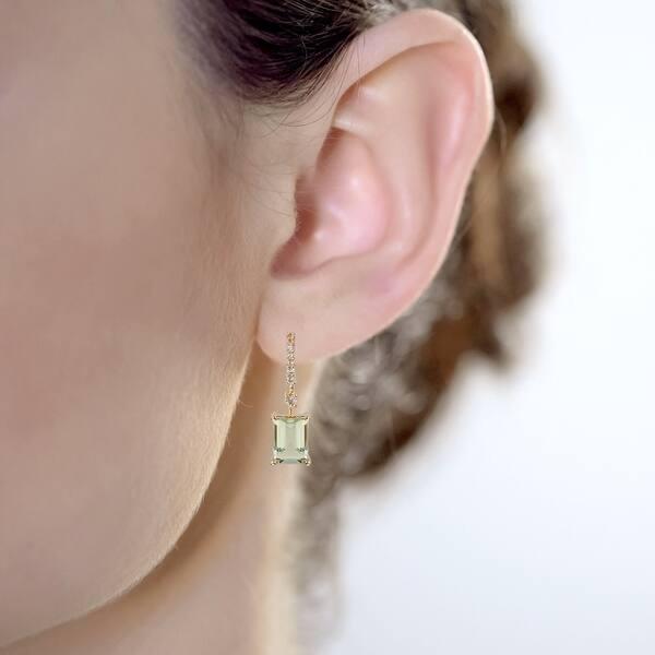 Amethyst Emerald Cut Dainty Drop Earrings
