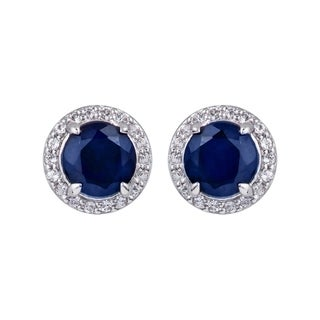 Viducci 10k White Gold Genuine Round Sapphire and White Topaz Halo Earrings