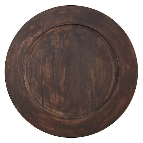 Round Table Chargers With Dark Wood Design (Set of 4)