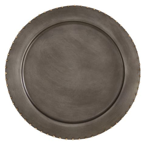 Dot Rim Metal Charger Plates (Set of 4)