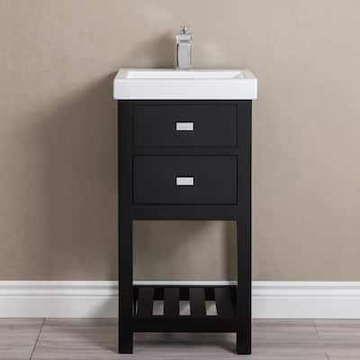 18 Inch Espresso MDF Single Bowl Ceramics Top Vanity With U Shape Drawer From The VERA Collection