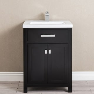 24 Inch Espresso MDF Single Bowl Ceramics Top Vanity With Double Door From The MYRA Collection