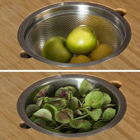 KRAUS Workstation Kitchen Accessory Set - Serving Board, Bowl,Colander