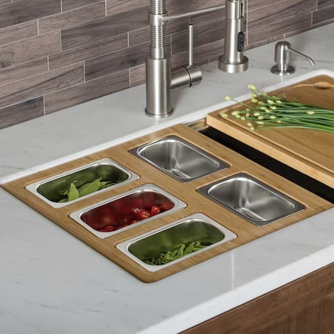 KRAUS Workstation Kitchen Accessory Set - Serving Board, 5 Containers