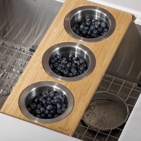 KRAUS Workstation Kitchen Accessory Set - Serving Board, 3 Bowls