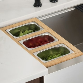 KRAUS Workstation Kitchen Accessory Set - Serving Board, 3 Containers