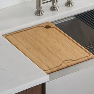 KRAUS Workstation Kitchen Sink Solid Bamboo Cutting Board
