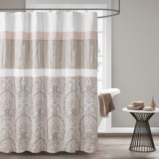 Link to 510 Design Josefina Blush Printed and Embroidered Shower Curtain with Liner Similar Items in Shower Curtains