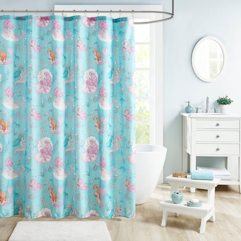 Mi Zone Kids Leilani Aqua/ Pink Printed Mermaid Shower Curtain - Aqua/ Pink