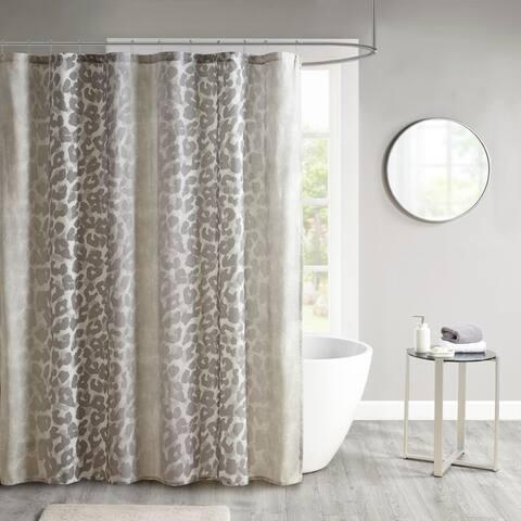 Madison Park Sable Neutral Cotton Gauze Printed Shower Curtain