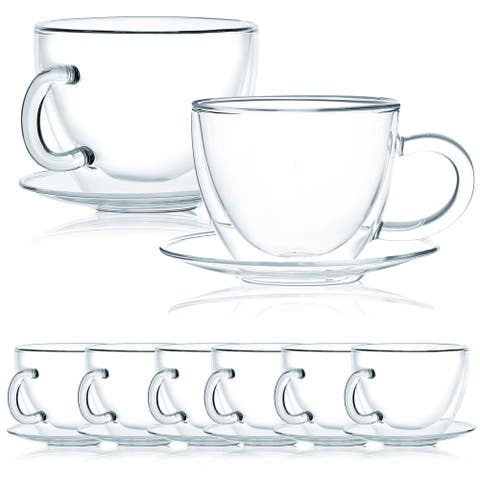 JavaFly Double Wall Glass Cup with Saucer, Set of 8, 8.6 oz