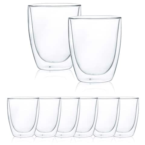 JavaFly Double Wall Glass Glass, Set of 8, 8.5 oz