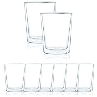 JavaFly Double Wall Glass Glass, Set of 8, 8.6 oz