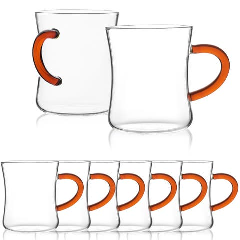 JavaFly Glass Mug with Orange Handle, Set of 8, 10.5 oz