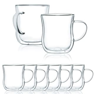 JavaFly Double Wall Glass Mug, Set of 8, 8.6 oz