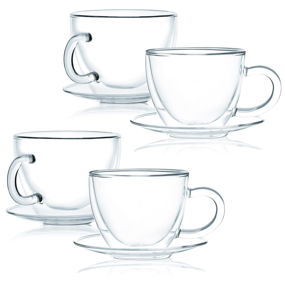 Set Of 8 JavaFly Double Wall Glass Cup With Saucer 8.6 Oz