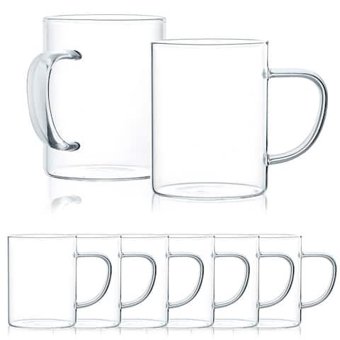JavaFly Glass Mug, Set of 8, 10.5 oz