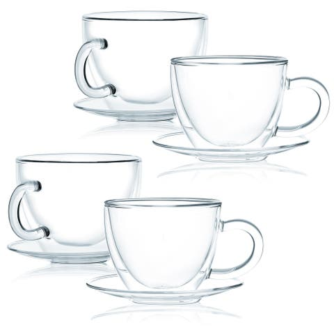 JavaFly Double Wall Glass Cup with Saucer, Set of 4, 12 oz