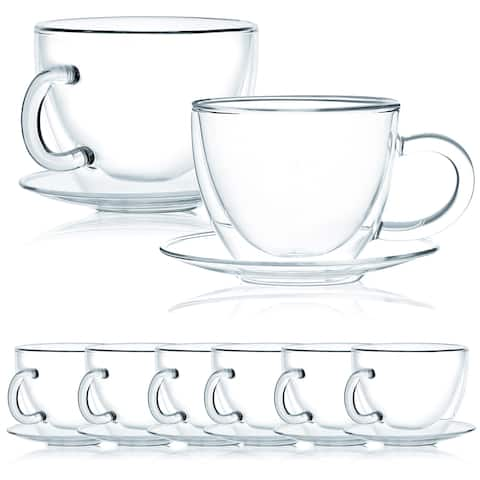 JavaFly Double Wall Glass Cup with Saucer, Set of 8, 12 oz