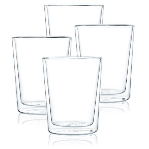 JavaFly Double Wall Glass Glass, Set of 4, 10.5 oz