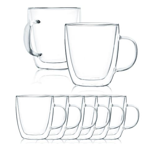 JavaFly Double Wall Glass Mug, Set of 8, 15.5 oz