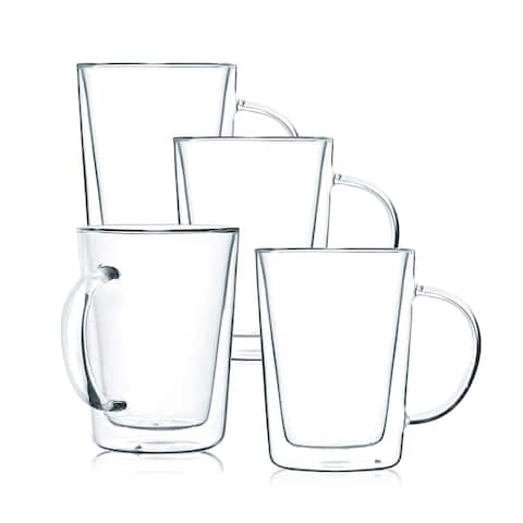 JavaFly Double Wall Glass Mug, Set of 4, 12 oz