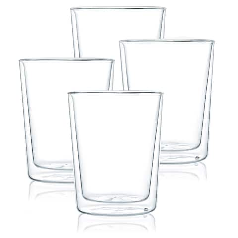 JavaFly Double Wall Glass Glass, Set of 4, 14 oz