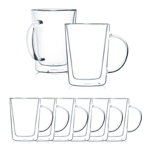 JavaFly Double Wall Glass Mug, Set of 8, 12 oz